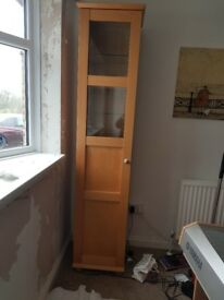 Open to offers *must sell* Tall upright Display cabinet cherry wood with lights