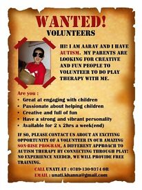 Autism therapy volunteer wanted: Exciting opportunity in our amazing SON-RISE PROGRAM! Free training
