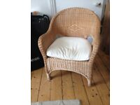 Natural Wicker Rattan Tub Armchair x 2 for £60