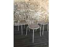 Set Of 4 Vintage Antique French Garden Bistro Chairs