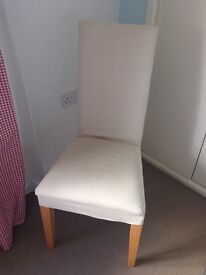 Upholstered dining room chair cream wood legs