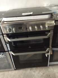 BRAND NEW Indesit stainless steel 60cm gas cooker with oven & grill