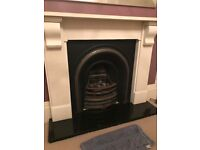 Edwardian style cast iron fireplace w Corbel stone surround and granite hearth, very good condition