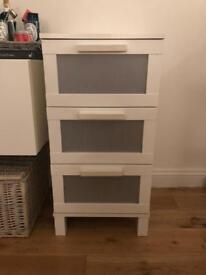 White 3 drawers