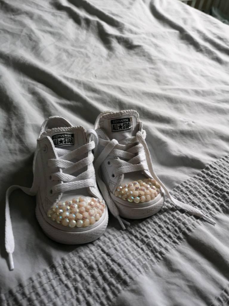 3118e63f436f Converse leather white ox diamonte size 6 infant