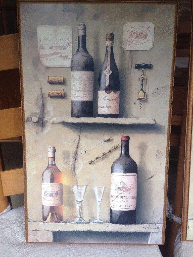 Pair of pictures of wine bottles by artist Fabrice de Villeneuve ...