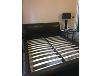 Brown Leather King Size Sleigh Bed Frame