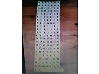 155 PLASTIC SCRABBLE TILES IVORY/BLACK LETTERS FOR CRAFTS OR GAME