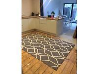 Large wool grey geometric rug