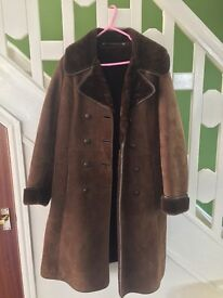 *MASSIVE CLEARANCE - EVERYTHING MUST GO* Vintage Brown Double Breasted suede and real leather coat
