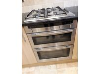 Neff built in double oven, hob and hood.