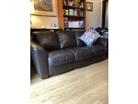 2 seater and sofa 3 seater sofa brown leather
