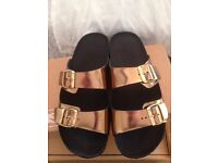 Mens Gold Strap Sandals Brand New Never Worn Size 10