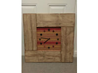 Large Reclaimed Wood Wall Clock with Fabric and Button detail Orange Red