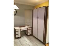 Oak art deco bedroom suite - wardrode and dresser