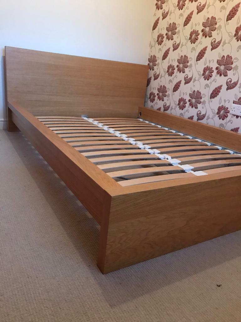 ikea malm oak effect double bed frame in kippax west yorkshire