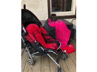Maclaren Quest Buggy red and black with rain cover and super warm cosytoes