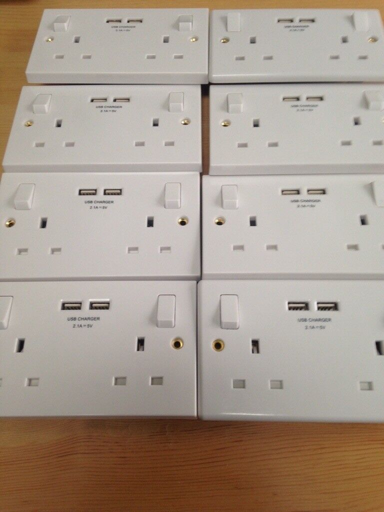 USB white double sockets all brand new £4 each.