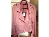 Pretty Little Thing Faux SUEde pink jacket size 8