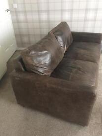 2x Brown Italian leather sofas