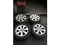 05 AUDI ALLOY WHEEL WITH TYRES 16 INC GOOD CONDITION FUUL SET