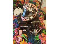 Ladies motorbike leathers helmet gloves boots
