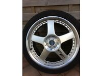 "18"" alloy wheels with matching nearly new tyres Ford Mazda Peugeot vw Audi multi fit"