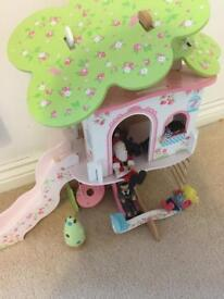 ELC wooden tree house, accessories and and figures