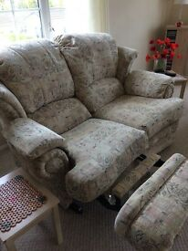 Two x 2 Seater High Backed Cream Patterned Sofas