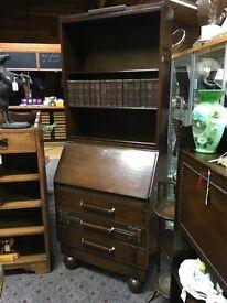 Oak bureau/bookcase. Original handles and 'bun' feet.