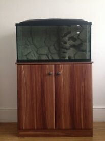 Aquarium/Fish tank with cabinet and custom made 3D background.