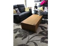 Large solid oak coffee table with drawers