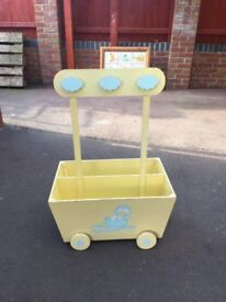 Childrens wooden dressing up and toy trolley