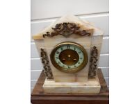 **REDUCED** ANTIQUE FRENCH VICTORIAN JAPY FRERES CREAM MARBLE / SLATE STRIKING MANTLE CLOCK.