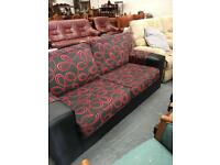 ** LARGE TWO SEATER BLACK & GREY SOFA *$
