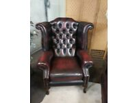 CHESTERFIELD LEATHER QUEEN ANNE CHAIR