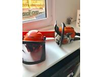 Stihl MS181 chainsaw and helmet 1 year old
