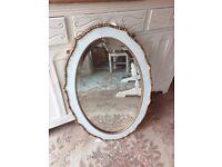 Mirror Beveled Vintage Oak Original White and Gold frame Oak