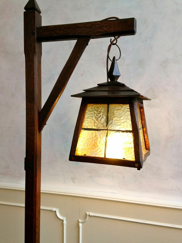 Art Crafts Period Antique Oak Standard Floor Lamp Lantern Stained Gl Gothic