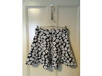 HM Size Small (10-12) Blue and White Flowered Skirt and Aztec Skirt