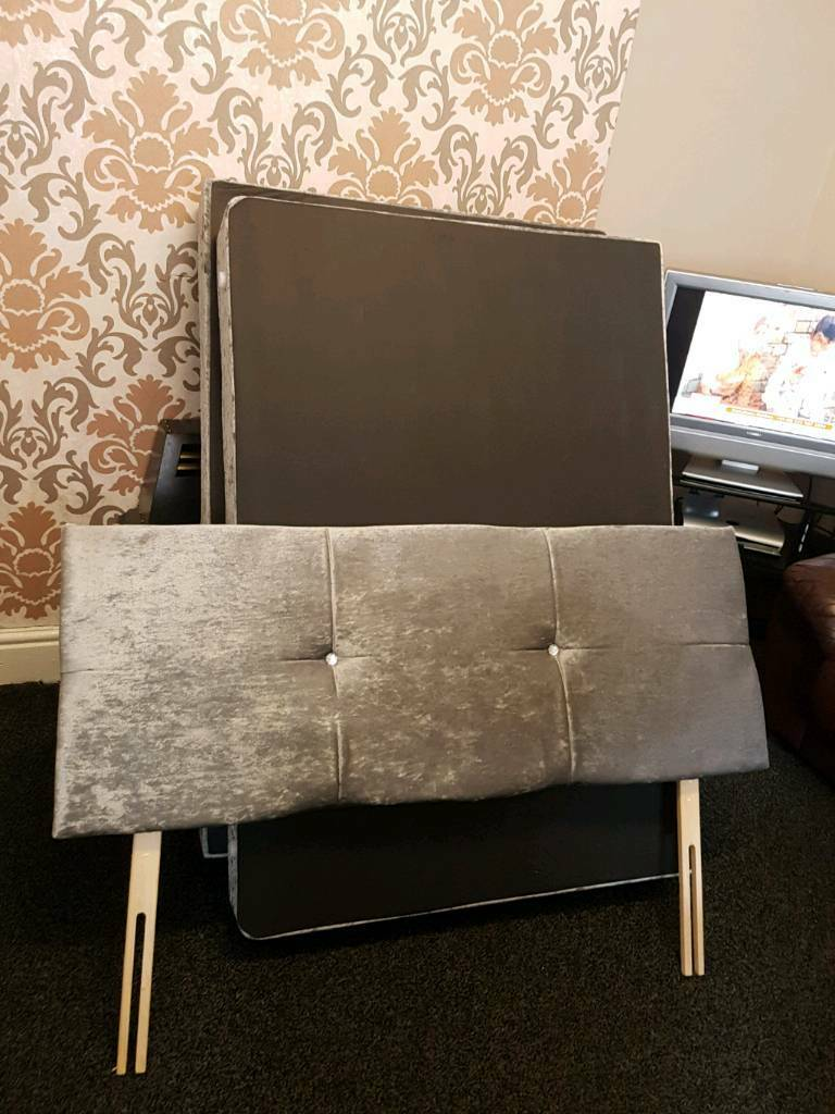 Double Bed Low Velvet With Mattress Amp Headboard No Legs