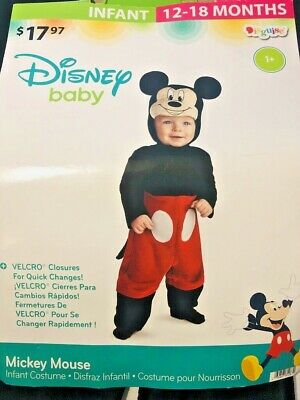 12 Month Baby Halloween Costume (Disney Mickey Mouse Baby Infant Costume Bodysuit Size 12-18 Months Halloween)