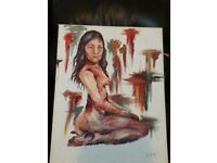 naked lady canvas and paperwork by artist