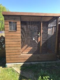 Bird Aviary 8ftx6ft with nesting boxes in separate area. Mint condition, colllection only