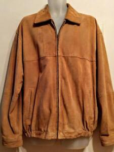 JOS A BANKS  Mans $800 Buttersoft, Suede Jacket Mens L 42 44 Chamois Yellow brown Real Leather