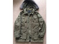 Mens GAP Military style coat with removable hood.