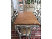 Vintage french draw leaf table and six chairs