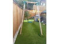Plum wooden swing set
