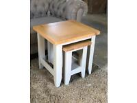 Oak & Grey Painted Nest of Tables Harbour by DFS, BRAND NEW!