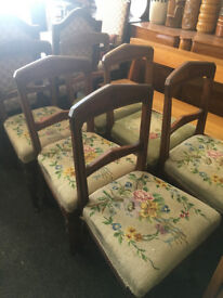 Fine Set of 6 Antique Mahogany Carved Back Dining Chairs